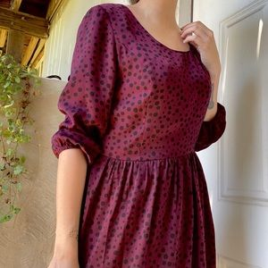 Maroon polka-dot dress w/strappy back